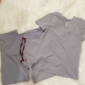 Figs scrub top and pants xs small gray